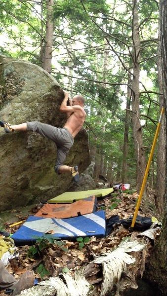 Rock Climbing Photo: Taking the swing on the possible FA