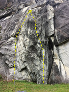Rock Climbing Photo: Sprinklers Save Lives (left line, 5.10+, sprad) & ...