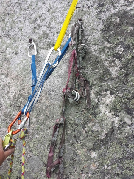 It has obviously been a long time since anyone has climbed the slabs here. <br> Backup these bolted anchors if you can!