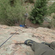 Rock Climbing Photo: Looking down KFC (on the left) and KFC Chimney (on...