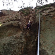 Rock Climbing Photo: Near first and only protection bolt on this route....