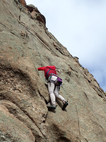 Rock Climbing Photo: Sue Kim above crux.
