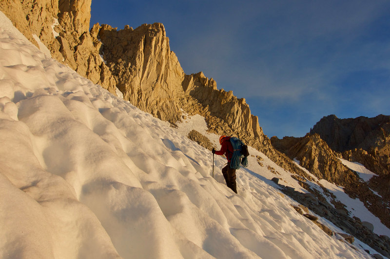 Final approach to East Buttress of Mt Whitney. Photo by JH.