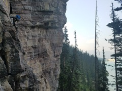 Rock Climbing Photo: Brice rappelling after climbing the 5.9 above pub ...