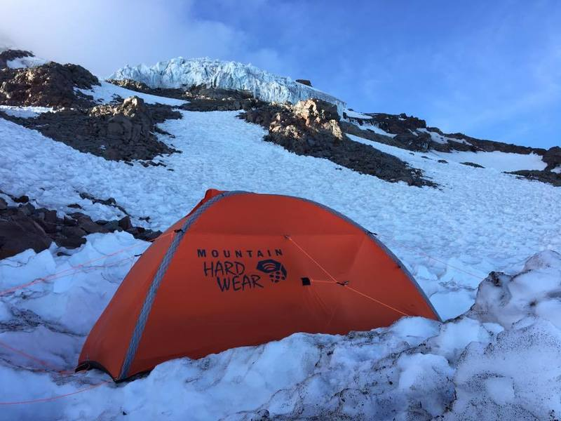 Rock Climbing Photo: Camp Hazard with Kautz ice cliffs in the backgroun...