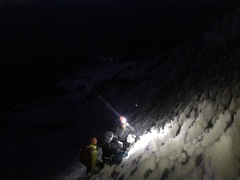 1 pitch of actual ice climbing on the route during our climb. July '17, about 1am.