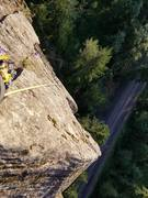 Rock Climbing Photo: Just getting to belay ledge with tree at top of pi...