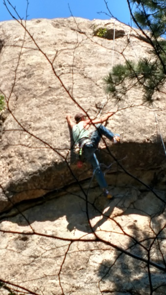 Rock Climbing Photo: Mark getting over the roof. Decent route for a top...