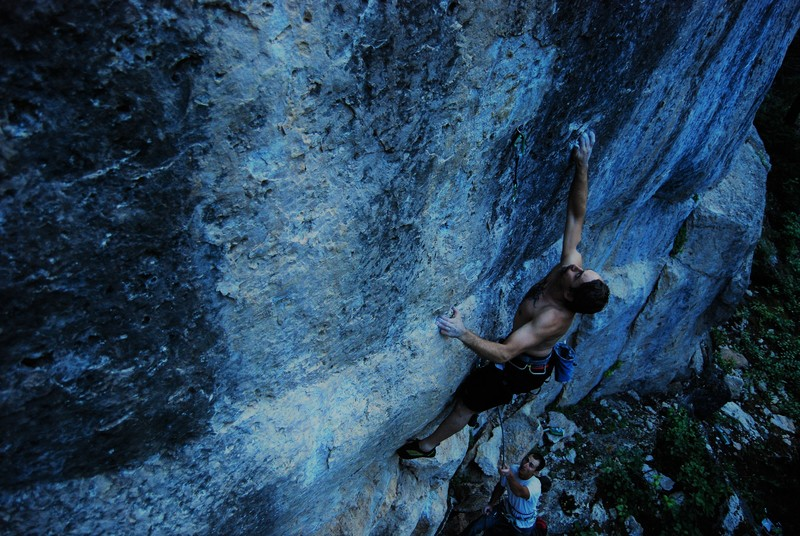 Rock Climbing Photo: Terry Twomey pulling one last lap and launching be...