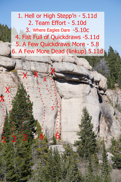 New routes and the oldest route at lower Aspen Glade