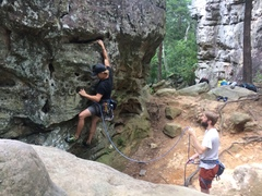 Rock Climbing Photo: Randy Lee starts lead on Crack a Smile. Brad Karuc...