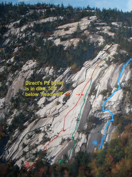 Carter Ledge Routes (Gary Jones photo, Routes by Brad White):