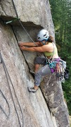 Rock Climbing Photo: working hard toward the end of P 3