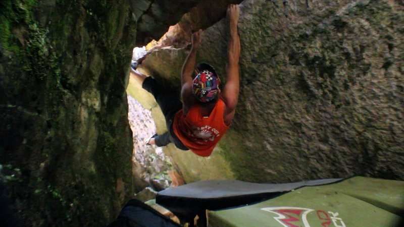 There are no normal foot holds on this problem so its heel and toe hooks the entire time!