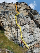 Rock Climbing Photo: The route (approximately), with my rope gun Brice ...