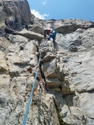 Rock Climbing Photo: Brice leading pitch 1, about to get to the crux of...