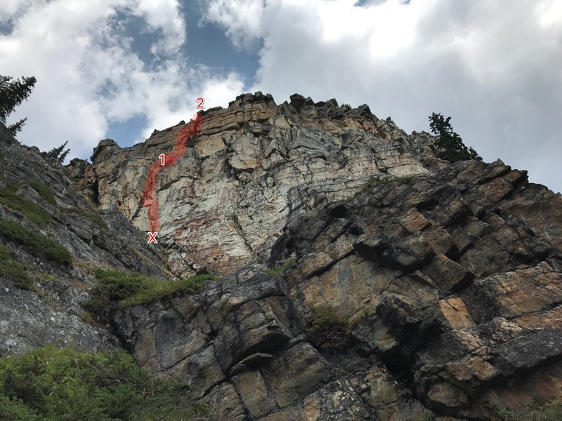 Rock Climbing Photo: View of route from the base of the formation.