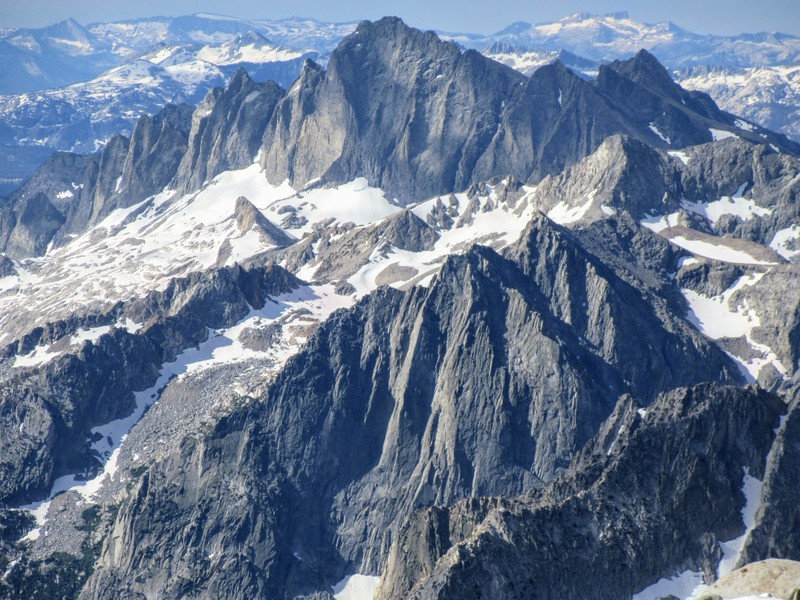 The Citadel (bottom) and Devils Crags (top) as seen from the summit of Mt Gilbert