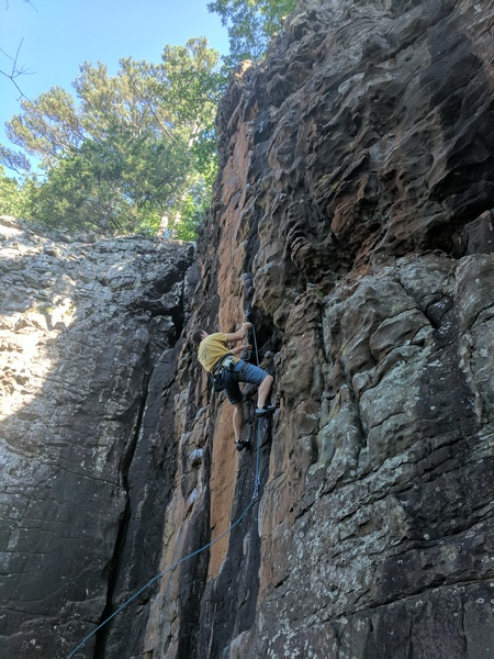 Rock Climbing Photo: Jeff is clipping the draw on Greatest Show on Eart...