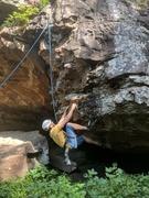 Rock Climbing Photo: Jeff pulls through the amazing hanging start of Da...