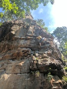Rock Climbing Photo: Jeff moves out onto the overhanging face of Dancin...