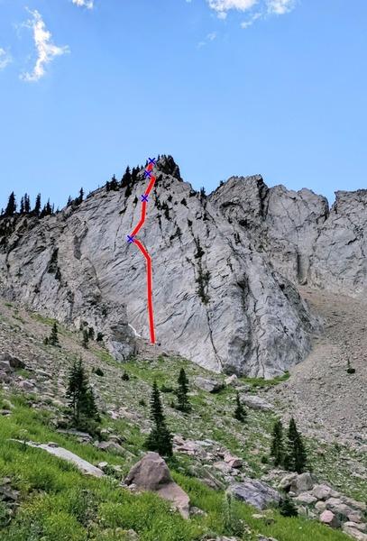 Rock Climbing Photo: X's show approximate belays