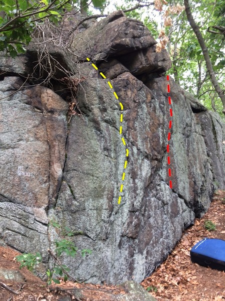 The Mt. Spickett Wall. All the way on the left (in yellow) is a fun crimp problem, in the middle, immediately right of the vertical crack, (in red) is a slightly more varied problem.