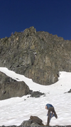 Rock Climbing Photo: The route starts left of the massive ledge and tra...