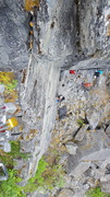 Rock Climbing Photo: Climbing one of the classic trad routes at Worthin...