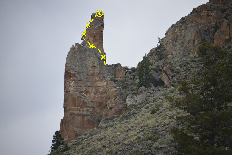 Trail Lake Pinnacle from the road (route in topo is Mountaineer's Route, 5.8+)