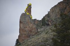 Rock Climbing Photo: Trail Lake Pinnacle from the road (route in topo i...