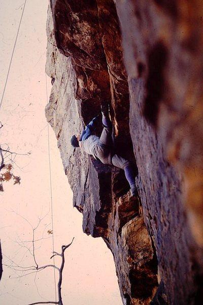 Top roping the cave route at Fall River, Kansas.  David Engel, 1980