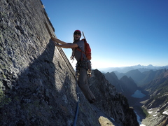 Rock Climbing Photo: Nick Roy enjoying the traverse right after pitch 4...