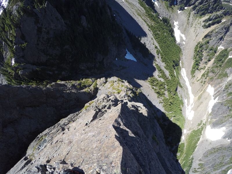 Rock Climbing Photo: Looking down Mile High Club.