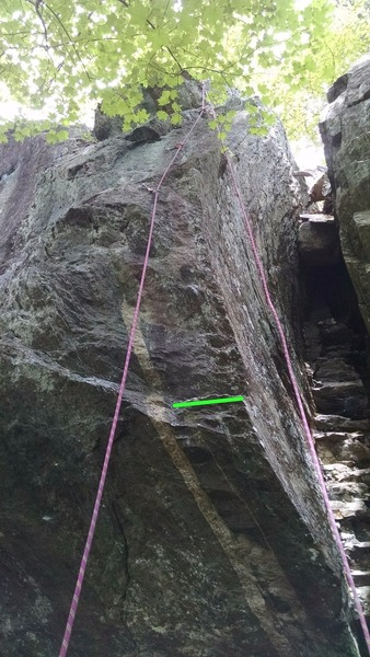 Awesome climb! Green line shows where I started. Used both hands and a right heel-hook to get off to a decent start.