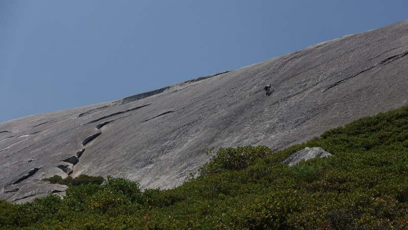 Rock Climbing Photo: Climber on Slick Rock Slab climb