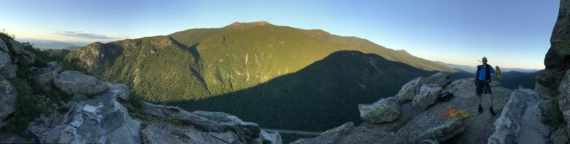 Pano photo from Cannon Cliff summit after Weissners Dike climb.
