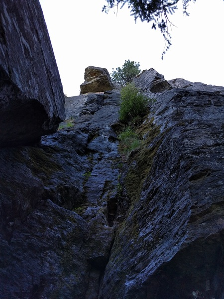 Rock Climbing Photo: View from the start just to the right of the leani...
