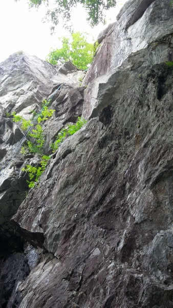 Rope hanging fro the anchors of Corner in the Sky.  The actual bolt line follows the rock to the right of the photo and meanders up into the high corner.