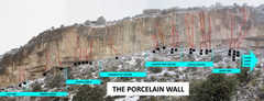 This is the Porcelain Wall. I will start to load all individual route info and photos... soon.  Just to help me out I have temporarily divided up the wall into sections;  this may or may not continue.
