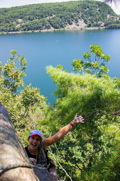 Rock Climbing Photo: Ashlee getting high above the Lake on a gorgeous d...