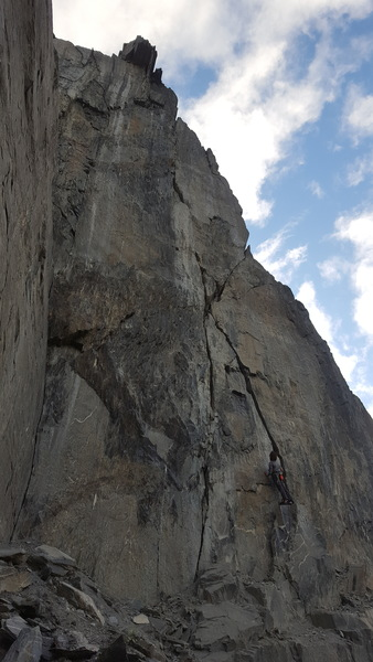 Dane Kentner checking out the monster off width that creates the obvious proud line on this section of the wall.