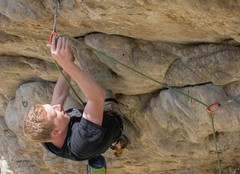 Third bolt - just below the crux.
