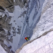 Rock Climbing Photo: Coulier on Tour Ronde North Face Route