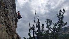 Rock Climbing Photo: Brandon pulling through the first crux.