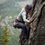 Grace with delicate footwork through the crux. <br /> <br />PC: Brandon Heimbichner.