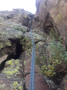 Rock Climbing Photo: Looking up at the crux crack area.