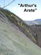 Rock Climbing Photo: King Arthur's Arete - viewed from the Main Slabs o...
