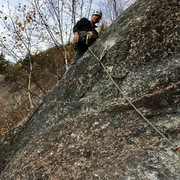 "Rock Climbing Photo: Starting P2 - ""Arthur's Arete"", after th..."
