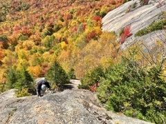 Rock Climbing Photo: Brushing P3 before the FA